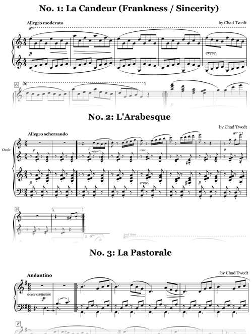 Sheet Music: Teacher Duets for Burgmuller's Op. 100 for a second piano (Chad Twedt)