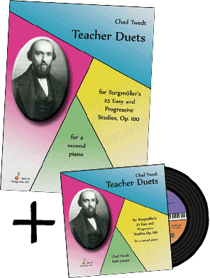 Sheet Music & CD Bundle: Teacher Duets for Burgmuller's Op. 100 for a second piano (Chad Twedt)