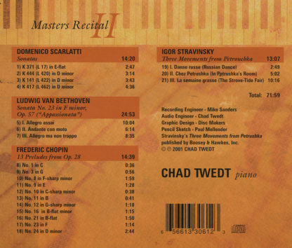 CD:  Masters Recital 2 (Chad Twedt)